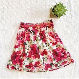 White House Black Market Pink Floral Skirt